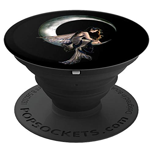 Goddess On Crescent Moon With Fairy Wings - PopSockets Grip and Stand for Phones and Tablets]()