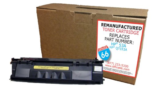 Office 66 Remanufactured Replacement for HP 53A (Q7553A) Toner Cartridge Remade in the USA, Office Central