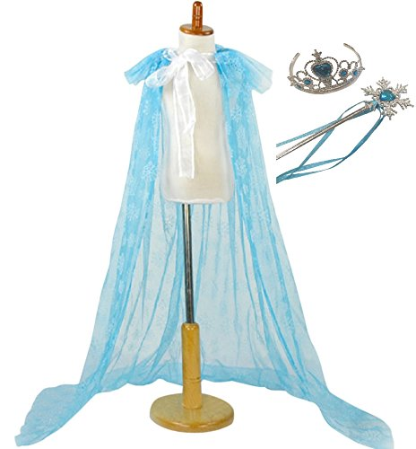 Elsa Snowflake Cape, Wand & Tiara 3 Piece Set New Longer Length