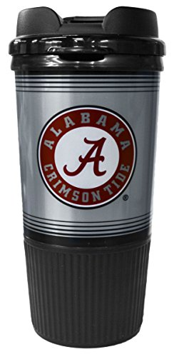 GameDay Novelty NCAA Alabama Crimson Tide Insulated Platinum Gripper Travel Tumbler with No Spill Flip Lid, 16 oz ()