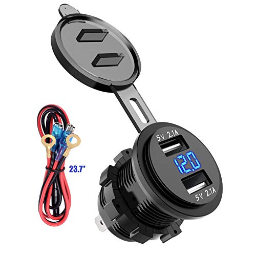 LaoDa Dual USB Charger Socket Waterproof Power Outlet 2.1A & 2.1A with Voltmeter & Wire in-line 10A Fuse for 12-24V Car Boat Marine Motorcycle (Auto Dc Outlet Power)