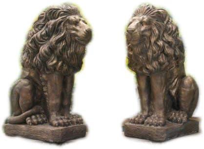 Juego de estatuas decorativas para jardín (piedra), diseño de león, color bronce: Amazon.es: Jardín