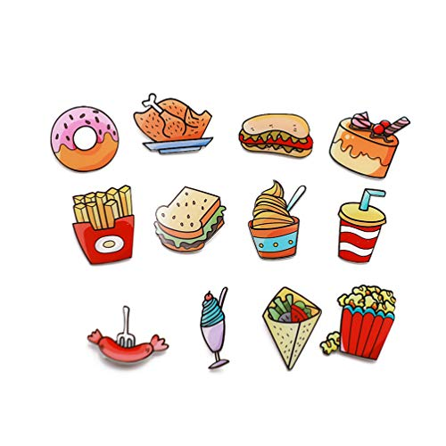 Forch 12 PCS Food Fruit Cake Children Cartoon Brooch Pins Women Girls Acrylic Brooch Cute Badges for Clothes Bags Backpacks Hat Jacket - Brooch Acrylic