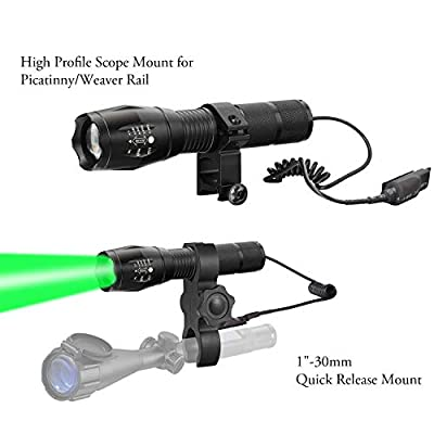 BIZOOM KL45 Super Bright Long Throw Green Hunting Light Kit, Upgraded High Lumen T6 LED, Scope Mounted Zoomable Flashlight Torch with Dual Control Remote Switch, for Hogs, Coyotes, Varmints, Predators
