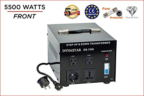 Dynastar Step Up & Step Down Voltage Converter and Transformer, 110-220 to 220-240 Volts; Heavy Duty, Extra Durable Lifetime Coil, 5-Year-Warranty, 5500 Watts -