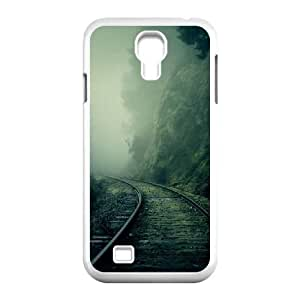Foggy Train Tracks Forest Samsung Galaxy S4 9500 Cell Phone Case White&Phone Accessory STC_204492