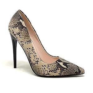 Angkorly – Chaussure Mode Escarpin Stiletto Sexy Glamour Femme Effet Peau de Serpent Python imprimé Animal Talon Haut…