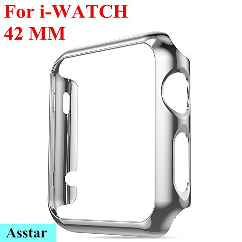 Photo - Apple Watch Case, Asstar Super Thin Plated Plating Protective Bumper Case Exact Fit Plastic Cover Snap On Hard Protective Case for Apple Watch 42mm All Models (Silver)