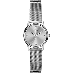 GUESS Women's Stainless Steel Diamond Dial Mesh Bracelet Watch, Color: Silver-Tone (Model: U0532L1)