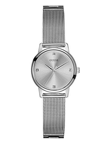 Diamond Silver Tone Watch - GUESS Women's Stainless Steel Diamond Dial Mesh Bracelet Watch, Color Silver-Tone (Model: U0532L1)
