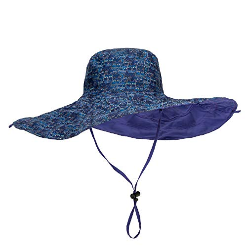 Laurel Burch Indigo Cats Print Reversible Sun Hat