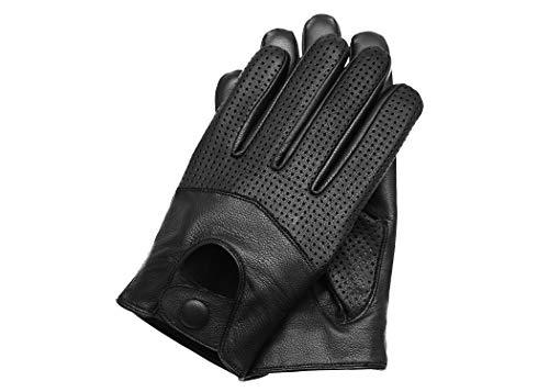 Riparo Men's Touchscreen Texting Half Mesh Perforated Summer Driving Motorcycle Leather Gloves (Medium, Black)