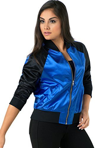 Balera Jacket Girls Bomber For Dance Long Sleeve Satin Zip Up Athletic Coat Royal/Black Adult Small from Balera