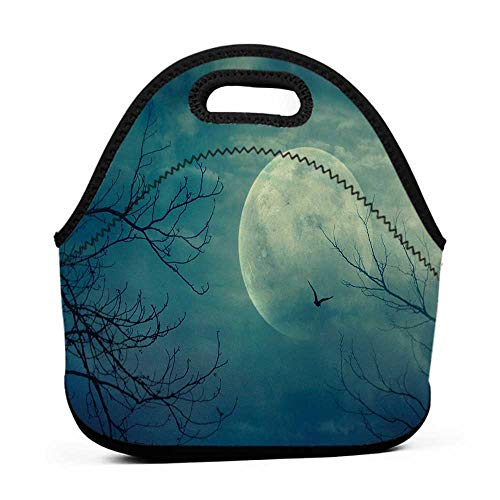 Removable Shoulder Strap Horror House,Halloween with Full Moon in Sky and Dead Tree Branches Evil Haunted Forest Print,Blue,hard shell lunch bag for men ()