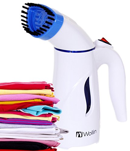 Clothes Steamer - Handheld And Portable Fabric And Garment Steamer - Perfect For Home And Travel Use, Curtains, Couches & Carpets - With Free Brush Nozzle - Fast, Powerful Heat Up- Lightweight - Blue (Battery Garment Steamer compare prices)