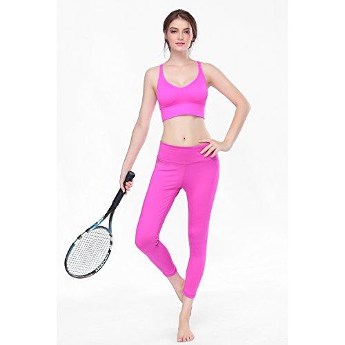 Vfun Soutien-gorges de sport rembourré Haut Gilet de Gymnastique et Yoga-Stretch S~XL 3 couleurs (L, Rose)