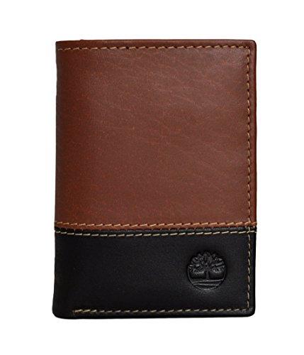 Fuertes Color - Timberland Men's Hunter Color-Block Trifold Wallet (BROWN/BLACK)