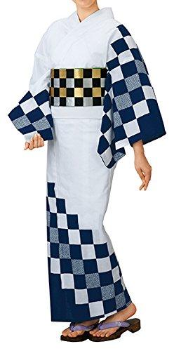 踊り衣裳 反物 大印 本絵羽ゆかた 白×紺 レディース