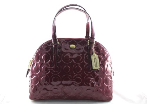 - Coach Peyton Op Art Embossed Patent Cora Domed Satchel
