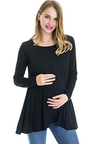 Smallshow Maternity Tops Long Sleeve Tunic with Discrete Nursing Access,Black,Large