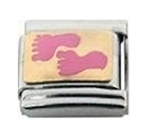 - Stylysh Charms Baby Girl Daughter Footprints Enamel Italian 9mm Link FA021