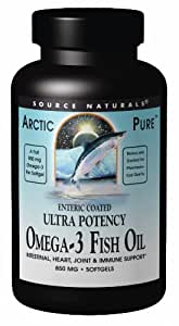 SOURCE NATURALS Arctic Pure Omega-3 Fish Oil Ultra Potency Enteric Coated 850 Mg Soft Gel, 120 Count