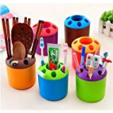 50 PCS Bestga Multi-purpose Porous Brush Pot Toothbrush Toothpaste Holder Bathroom Cabinet Organizer Plastic Storage Stand For Travel and Home