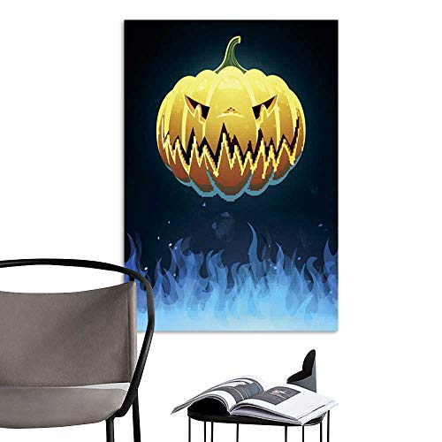 UHOO Linen Art Prints PicturesVector Scary Halloween Pumpkin.jpg Wall Art for Bedroom Living Room 20