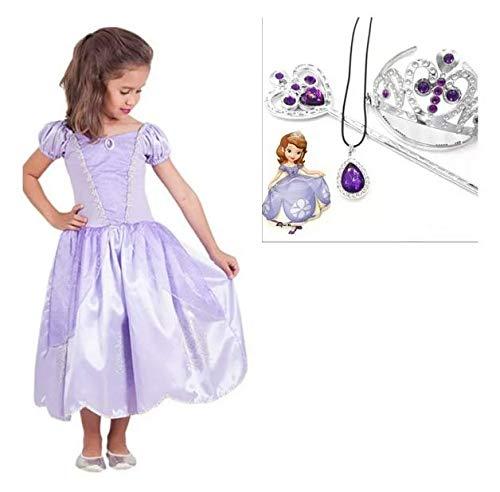 Vestido Princesa Princesinha Sofia Com Colar Tiara E Cetro