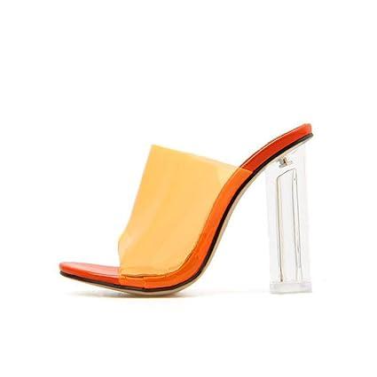 f99c20decd293 Amazon.com: YXB Women's High Heel Slippers 2019 New PVC Peep Toe ...