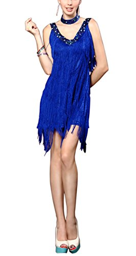 1920's Gatsby Flapper Themed Murder Mystery Party La Costumes Dresses Outfits, Royal, Large - Murder Mystery Costumes