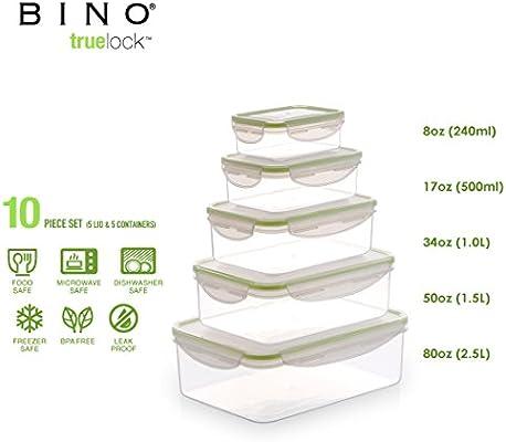 600b647a111d BINO TRUELOCK 10-Piece Rectangular Leak-Proof Plastic Snap Lock Food  Storage Container Set with Lids, Green