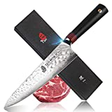 TUO Cutlery Chef Knife - Japanese AUS-10 HC Damascus Pattern Steel - Hammered Blade Finish - Dishwasher Proof - G10 Handle - Gift Box - Ring-H Series - 8''