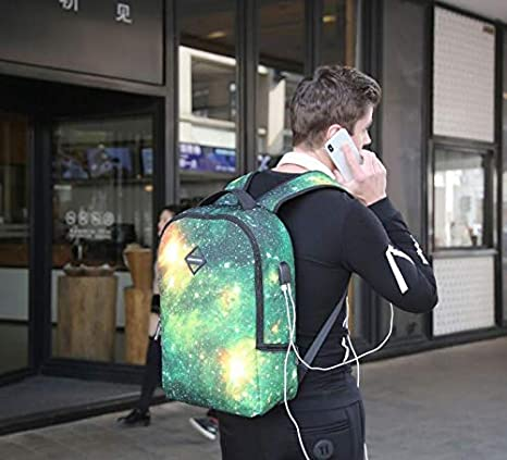 a086d888ccdb Amazon.com  Runningtiger Unique Galaxy Sky Print Men Women Fashion School  Laptop Backpacks With Usb Charging Port   earphone   headphone hole  (A1061)  Daya ...