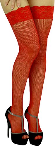 ToBeInStyle Women's Plus Size Wide Floral Lace Fishnet Thigh Hi Stockings - One Size: Plus/Queen - (Red Fishnets)