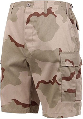 Bellawjace Clothing Tri- Color Desert Camouflage Military BDU Combat Cargo Shorts Poly/Cotton