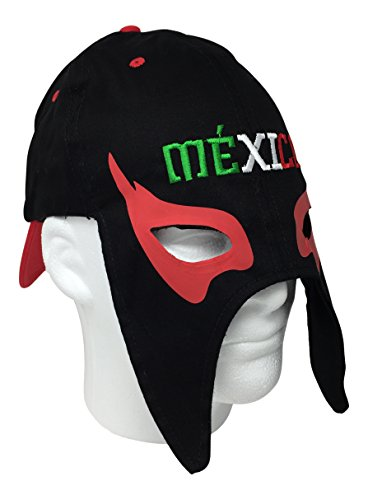 Mexico Gorra Mascara de Futbol. Mexico Soccer hat. Mexican Lucha Libre Mask Cap (Black) (Gorras Damas Para)