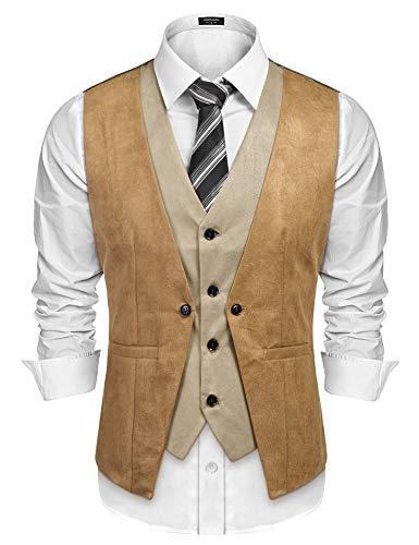 COOFANDY Men's Suede Leather Vest Layered Style Dress Vest Waistcoat (Small, Khaki)