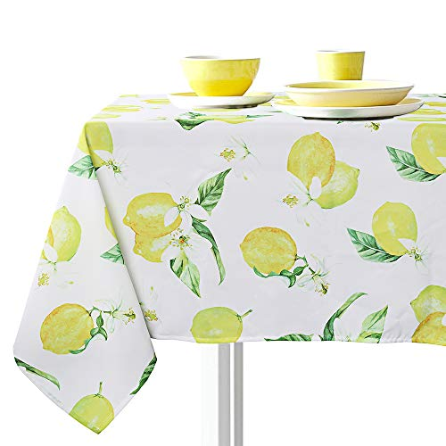 (VIMOO Lemon Pattern Tablecloth Spillproof Water Resistant Polyester Washable Table Cover Spring Summer Indoor Outdoor Party Holiday Birthday Home Picnic Decor (Lemon, Rectangle-60x84 inch) )