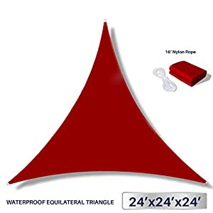 Windscreen4less Terylene Waterproof Sun Shade Sail UV Blocker Triangle Sunshade Patio Canopy Sail 24' x 24' x 24' in Color Red - Customized Sizes