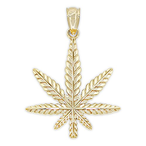 Charm America - Gold Marijuana Leaf Charm - 14 Karat Solid Gold