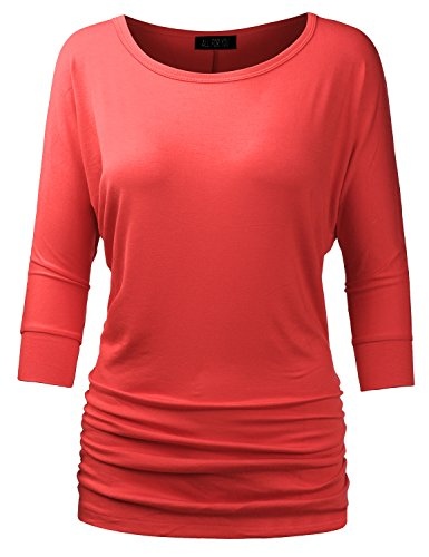 ALL FOR YOU Women's 3/4 Sleeve Drape Top With Side Shirring Coral Large