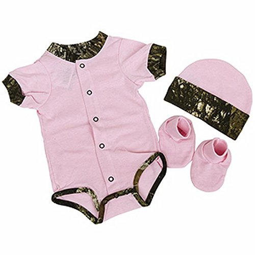 Bonnie's Sportswear BCS Easy-On Set with Knit Hat Short Sleeve, 3-6 Months, Pink/Mossy Oak