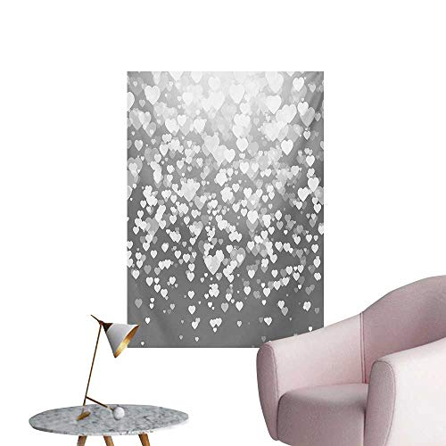 Anzhutwelve Love Wallpaper Abstract Artwork with Hearts Silhouette Sunshines Marriage Passion Valentines PrintDimgrey White W32 xL48 Cool Poster