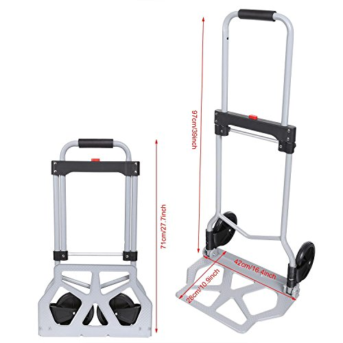 Folding Hand Truck/Assisted Hand Truck/Cart 220lbs Lightweight Portable Fold UpDolly Foldable Wheelsfor Luggage, Personal, Travel, Auto, Moving and Office Use by Elomes (Image #7)
