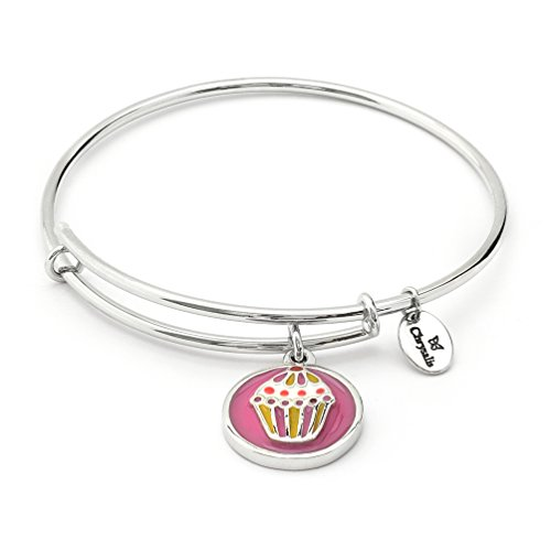 Girls Silver Rhodium Plated Wishes Cupcake Charm Expandable Bangle Bracelet