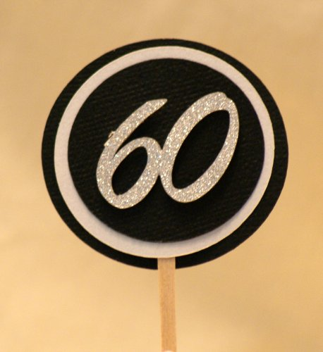 All About Details Black & White 60 Cupcake Toppers, Set of 1