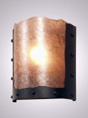 Ridge Handcrafted Lamp (Steel Partners Lighting 2374 Timber Ridge Sconce Rivets 100 Wattage, Black Finish White Mica)
