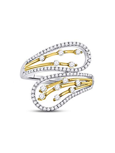 - 10kt Two-tone White Yellow Gold Womens Round Diamond Oblong Bypass Fashion Ring 1/2 Cttw