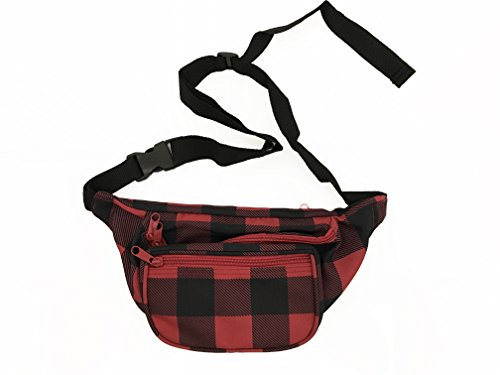 BAM Fanny Pack Waist Bands 80s 90s Style Fashion (Plaid Red)
